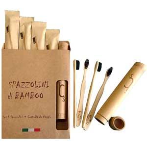 Regalo utile ed ecologico per Natale 2019: Set spazzolino in bambù con custodia da viaggio
