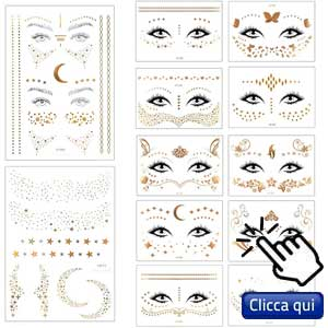 Trucco e unghie con adesivi: decorazioni per il viso simili ai tatuaggi